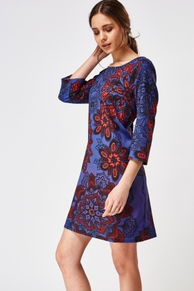 3/4 Sleeve Printed Dress