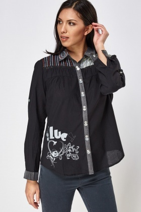 Embroidered Front Contrast Shirt