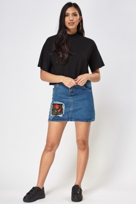 Embroidered Mesh Insert Denim Skirt