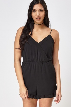 Frilled Hem Sheer Cami Playsuit