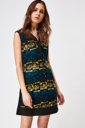 Lace Up Front Contrast Dress