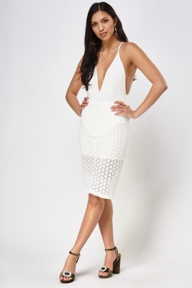Mesh Overlay Pencil Skirt