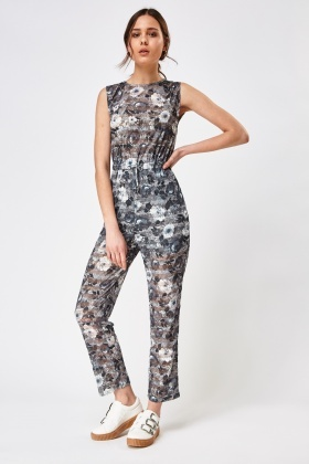 Textured Floral Jumpsuit