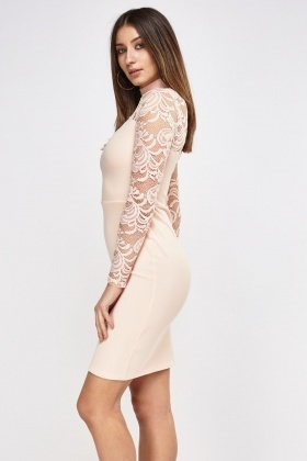 Choker Neck Lace Sleeve Bodycon Dress
