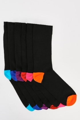 Mens Pack Of 6 Multi Coloured Socks