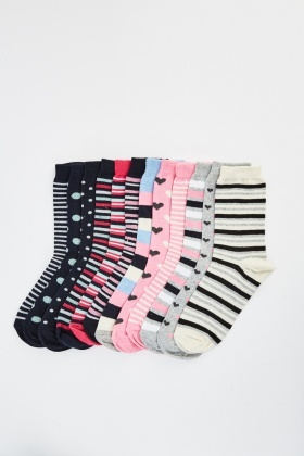 Pack Of 12 Assorted Socks