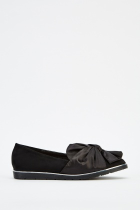 Sateen Twist Knot Suedette Shoes