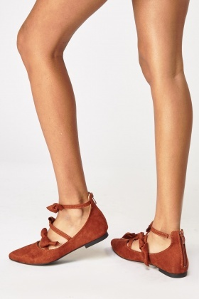 Strappy Bow Court Ballet Shoes