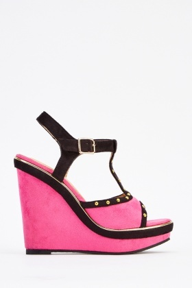 Studded Colour Block T-Bar Wedge Shoes