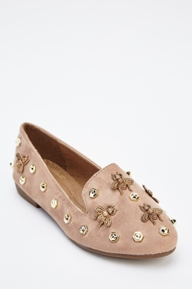 Studded Fly Ballet Pumps
