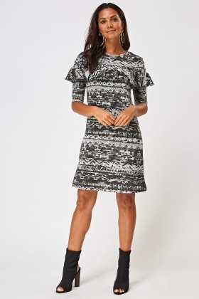 Aztec Frilled Front Dress
