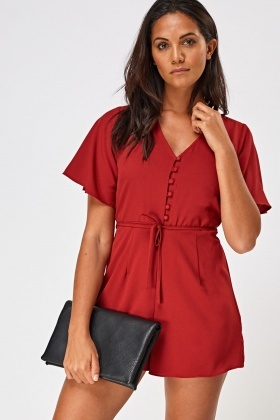 Button Up Flare Sleeve Playsuit