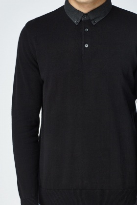 Contrast Collar Black Sweater