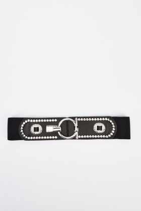 Embellished Faux Leather Belt