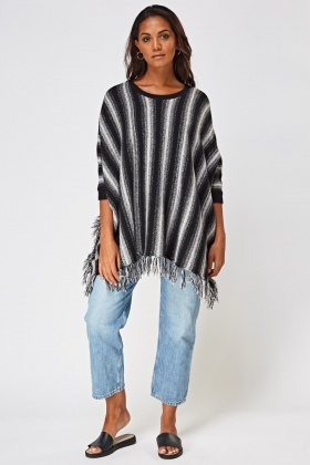 Fringed Trim Striped Knitted Poncho