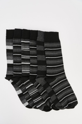 Pack Of 6 Mens Striped Socks