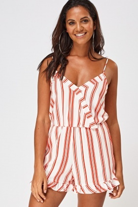 Striped Wrap Frilled Hem Playsuit