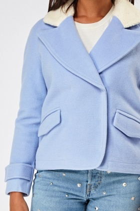 Teddy Bear Collar Contrast Cropped Jacket