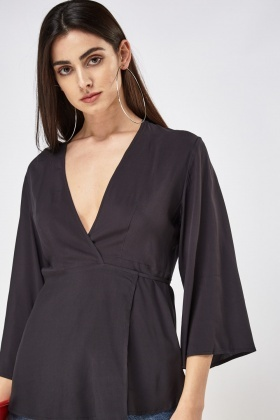 Black Wrap Wide Sleeve Top