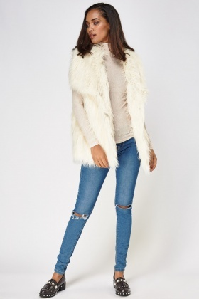 Cream Faux Fur Gilet