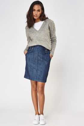 Denim High Waist Midi Skirt
