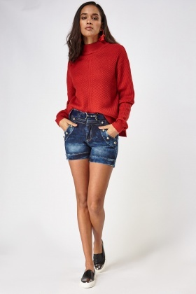 High Waist Denim Belted Shorts