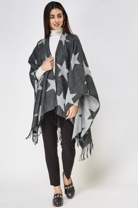 Star Knitted Poncho Cape