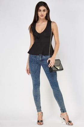 Wrap Textured Peplum Top