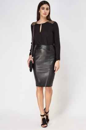 Faux Leather Black Midi Skirt