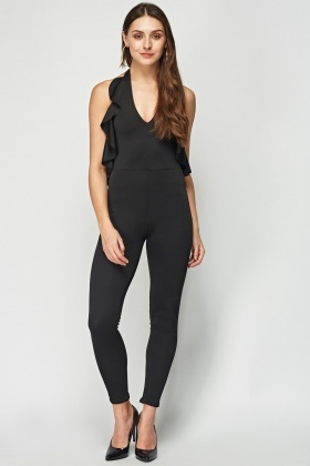 Halter Neck Frilled Jumpsuit