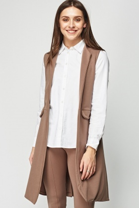 Middle Brown Open Front Gilet