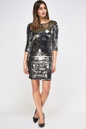 Silver Sequin Cut Out Back Dress