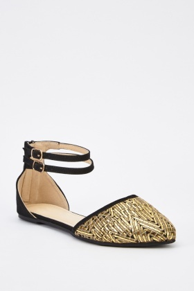 Court Metallic Insert Sandals