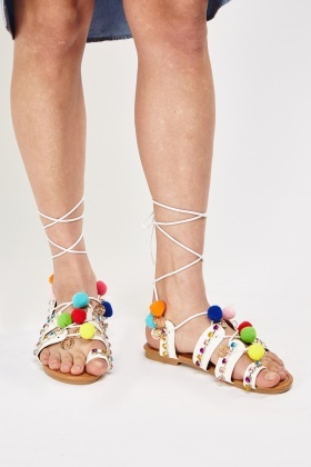 Encrusted Pom Pom Lace Up Sandals