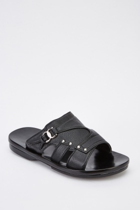 Faux Leather Mens Sliders