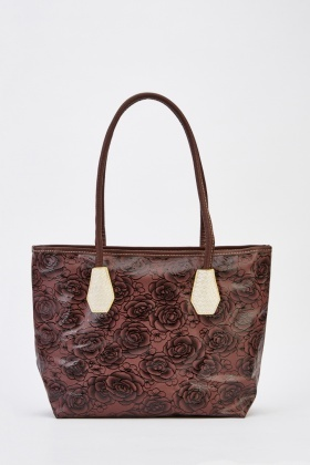 Printed Flower Faux Leather Tote Bag