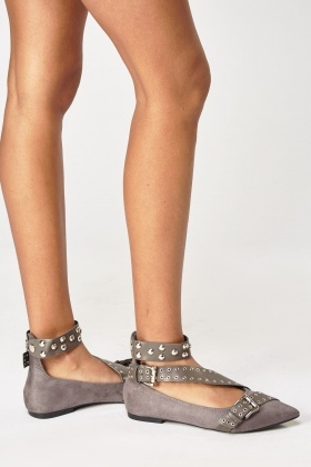 Suedette Studded Court Shoes