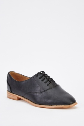 Tie Up Faux Leather Shoes