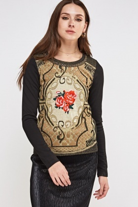 Embroidered Rose Metallic Insert Top