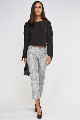 Printed Cigarette Mono Trousers