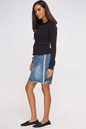 Printed Side Trim Denim Skirt
