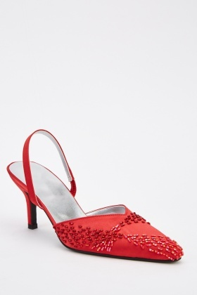 Beaded Court Sateen Heels