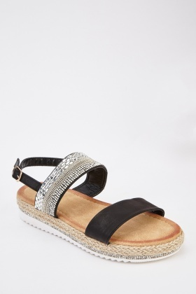Espadrille Faux Leather Sandals