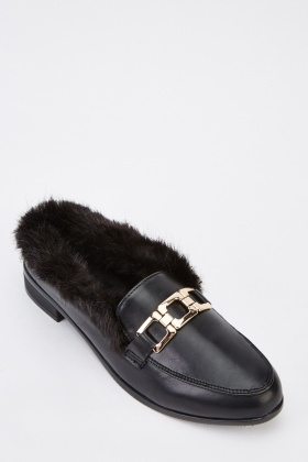 Faux Fur Trim Loafers