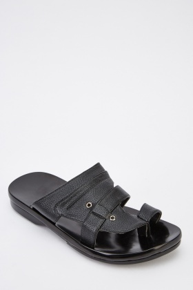 Mens Flat Faux Leather Sandals