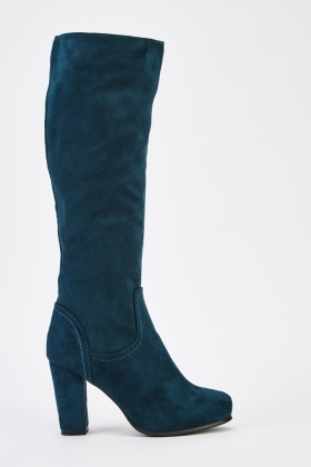 Suedette Green Knee High Boots