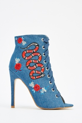 Embroidered Lace Up Heeled Boots