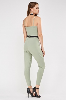 Fitted Olive Belted Jumpsuit
