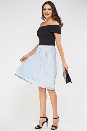 Pleated Hem Off Shoulder Dress