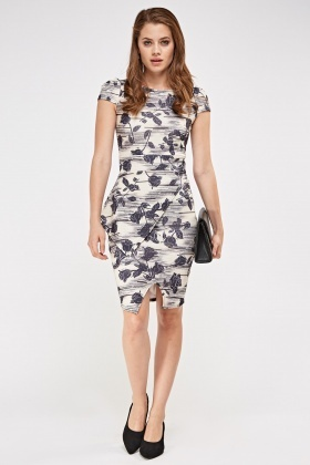 Printed Peplum Side Dress